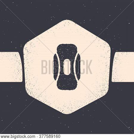 Grunge Menstruation And Sanitary Napkin Icon Isolated On Grey Background. Feminine Hygiene Product.