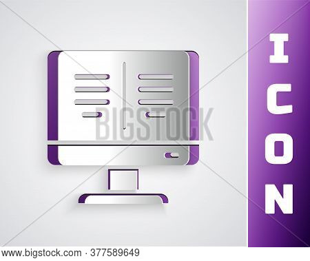 Paper Cut Online Book On Monitor Icon Isolated On Grey Background. Internet Education Concept, E-lea