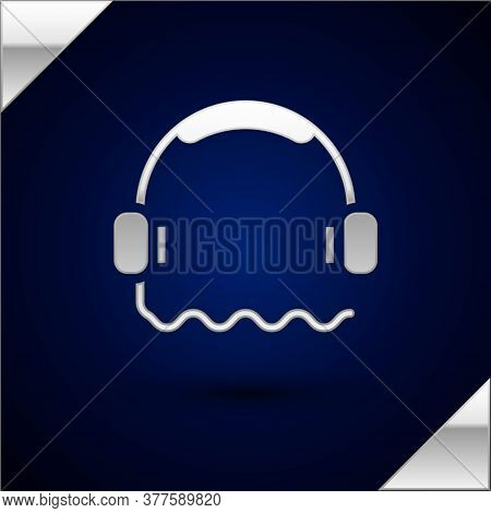 Silver Headphones Icon Isolated On Dark Blue Background. Support Customer Service, Hotline, Call Cen