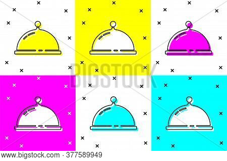 Set Covered With A Tray Of Food Icon Isolated On Color Background. Tray And Lid. Restaurant Cloche W