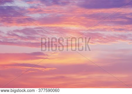 Pink Purple Orange Clouds In Sunset Sky, Blurry Natural Dawn Sky Background