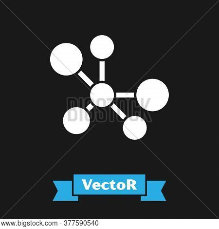 White Molecule Icon Isolated On Black Background. Structure Of Molecules In Chemistry, Science Teach