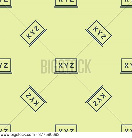 Blue Xyz Coordinate System On Chalkboard Icon Isolated Seamless Pattern On Yellow Background. Xyz Ax