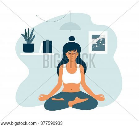 Young Woman In Lotus Position Meditating At Home. Girl In Crossed Legs Pose Relaxing Sitting On Floo