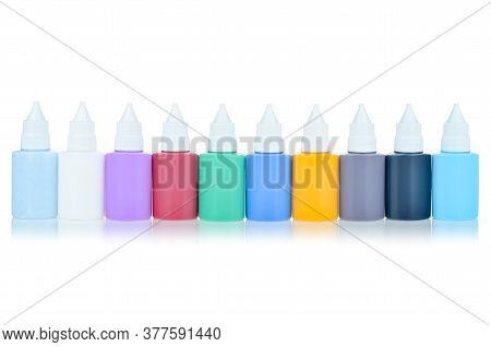 Set Of Stained Glass Paints Isolated On A White Background, Mockup. The Set Of Colors For The Manufa