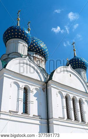 Russia,uglich, July 2020. A Vertical View Of The Pediment Of An Old Orthodox Cathedral.