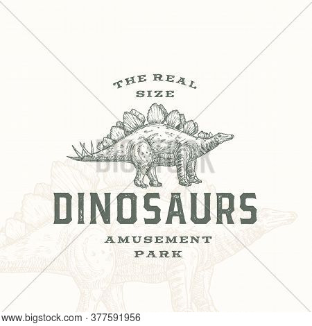Real Size Dinosaurs Amusement Park Abstract Sign, Symbol Or Logo Template. Hand Drawn Stegosaurus Re