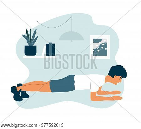 Sport And Physical Activities At Home. Healthy Lifestyle, Fitness Training Concept. Young Athletic M