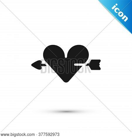 Grey Amour Symbol With Heart And Arrow Icon Isolated On White Background. Love Sign. Valentines Symb