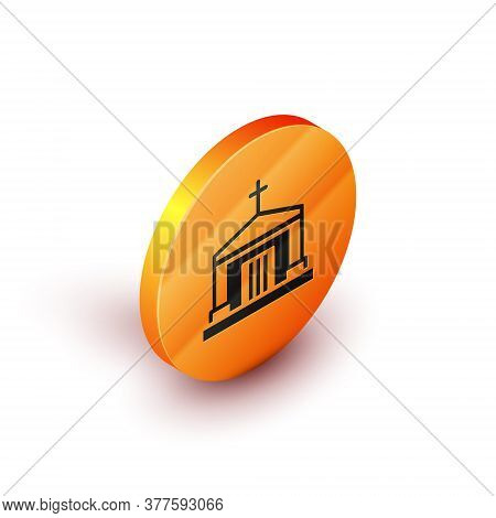 Isometric Old Crypt Icon Isolated On White Background. Cemetery Symbol. Ossuary Or Crypt For Burial