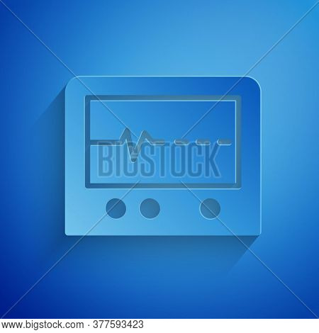 Paper Cut Beat Dead In Monitor Icon Isolated On Blue Background. Ecg Showing Death. Paper Art Style.
