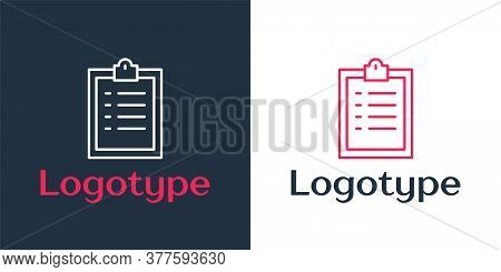 Logotype Line Clipboard With Checklist Icon Isolated On White Background. Control List Symbol. Surve