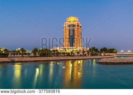 Doha, Qatar - Nov 17. 2019. The Ritz-carlton Hotel In Night