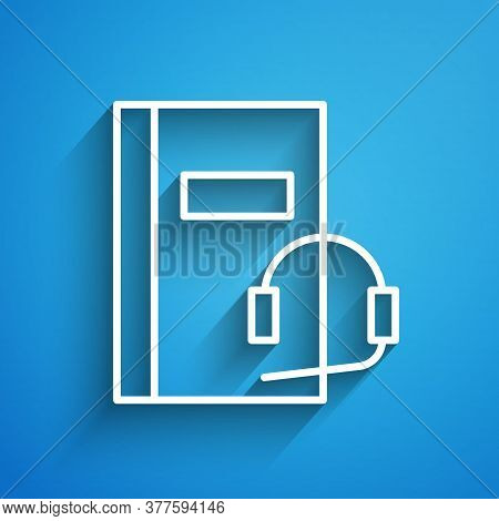 White Line Audio Book Icon Isolated On Blue Background. Book With Headphones. Audio Guide Sign. Onli