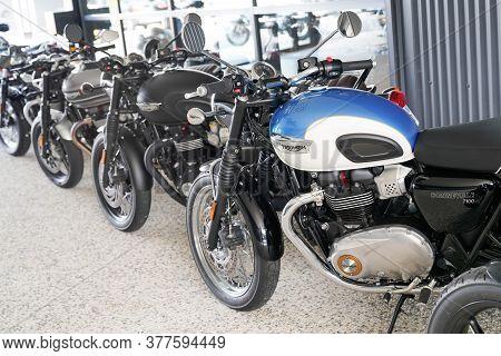 Bordeaux , Aquitaine / France - 07 17 2020 : Triumph Bonneville Motorbike With Text Sign Logo Parked