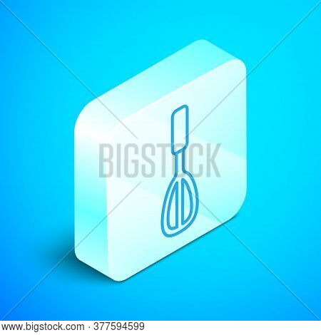 Isometric Line Kitchen Whisk Icon Isolated On Blue Background. Cooking Utensil, Egg Beater. Cutlery