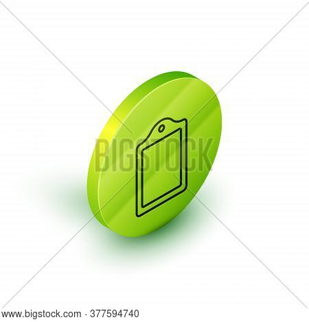 Isometric Line Cutting Board Icon Isolated On White Background. Chopping Board Symbol. Green Circle