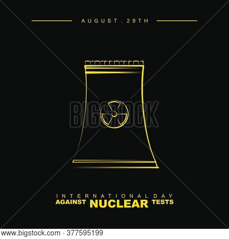 Line Art Of Nuclear Power Plant Vector Illustration. Good Template For Nuclear Day Design.
