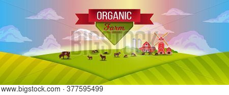 Organic Harvest Farm Illustration With Woman Farmer Holding Pitchfork, Cock,haystack, Barn, Mill, Li