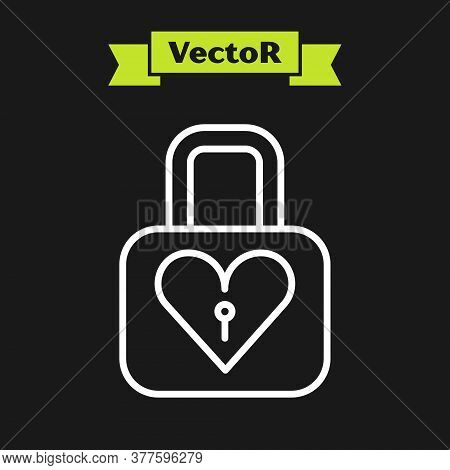 White Line Lock And Heart Icon Isolated On Black Background. Locked Heart. Love Symbol And Keyhole S