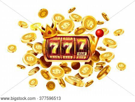 Slots 777 Banner, Golden Coins Jackpot, Casino 3d Cover, Slot Machines And Roulette With Cards. Vect