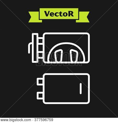 White Line Crematorium Icon Isolated On Black Background. Vector