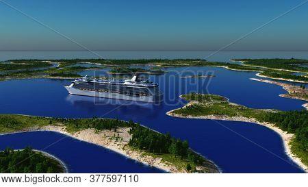 Summer landscape with passenger liner.,3d render