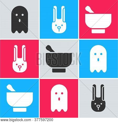 Set Ghost, Rabbit With Ears And Magic Mortar And Pestle Icon. Vector