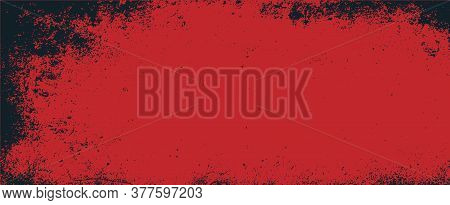 Abstract Red Background With Black Grunge Borders, Triangle Shapes In Red Transparent Layers With An