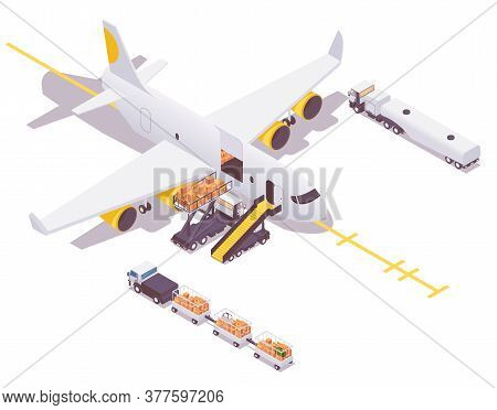 Isometric Airplane In The Parking Lot Preparing For Departure. Loading Cargo And Baggage, Airplane G