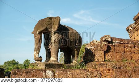 Ruined Elephant In Temple Of Cambodia, Siem Reap