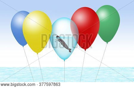 A Sperm Whale Is Seen Inside A Balloon Along With Other Party Balloons In An Illustration About Rele