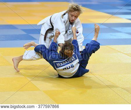 Orenburg, Russia - 21 October 2017: Girls Compete In Judo