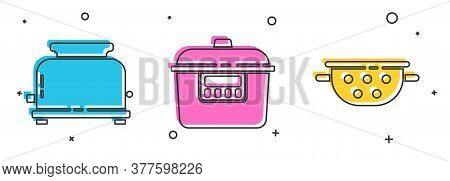 Set Toaster, Slow Cooker And Kitchen Colander Icon. Vector