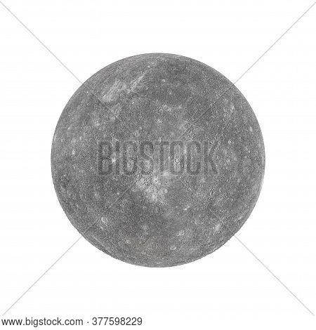Solar System Concept. View Of Full Big Planet Mercury From Space On A White Background. Elements Of