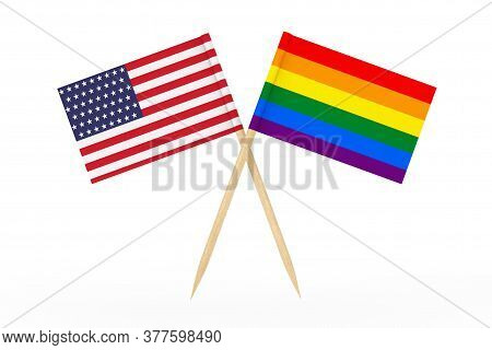 Mini Paper Lgbt Rainbow Pointer Flag With Usa Flag On A White Background. 3d Rendering