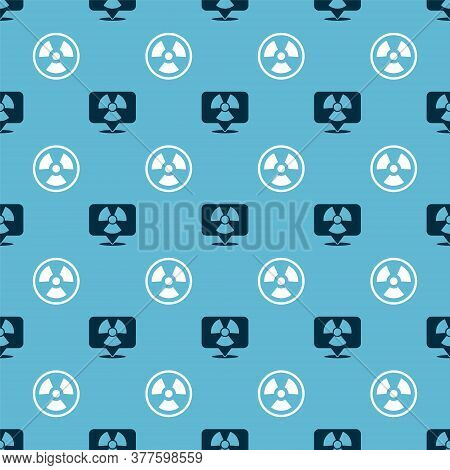 Set Radioactive In Location And Radioactive On Seamless Pattern. Vector