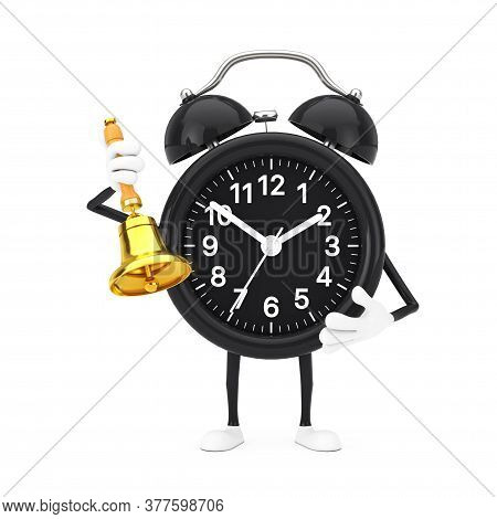 Alarm Clock Character Mascot With Vintage Golden School Bell On A White Background. 3d Rendering