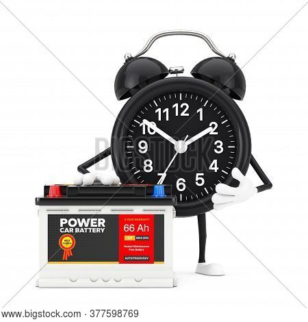 Alarm Clock Character Mascot And Rechargeable Car Battery 12v Accumulator With Abstract Label On A W