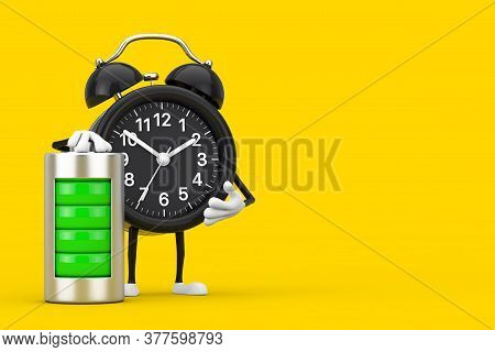 Alarm Clock Character Mascot With Abstract Charging Battery On A Yellow Background. 3d Rendering