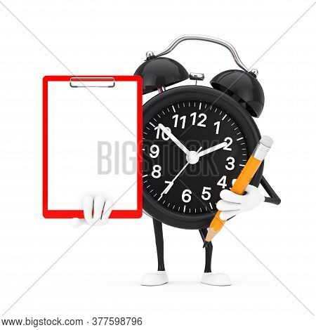 Alarm Clock Character Mascot With Red Plastic Clipboard, Paper And Pencil On A White Background. 3d
