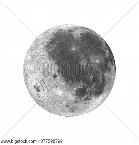 View Of Full Big Super Moon From Space On A White Background. Elements Of This Image Furnished By Na
