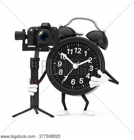 Alarm Clock Character Mascot With Dslr Or Video Camera Gimbal Stabilization Tripod System On A White