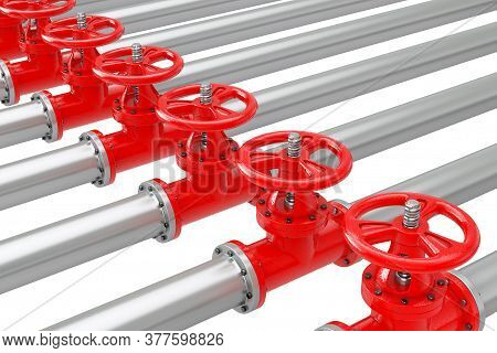 Rows Of Gas Pipelines With Valves On A White Background. 3d Rendering