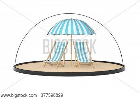 Travel Safety Concept. Two Beach Relax Pool Chairs With Sunshade Under Glass Bell Dome On A White Ba