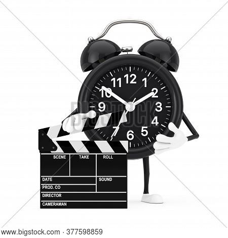 Alarm Clock Character Mascot With Novie Clapper Board On A White Background. 3d Rendering