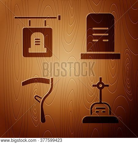 Set Grave With Cross, Signboard Tombstone, Scythe And Grave With Tombstone On Wooden Background. Vec