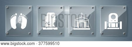 Set Grave With Tombstone, Old Crypt, Old Grave With Tombstone And Dead Body. Square Glass Panels. Ve