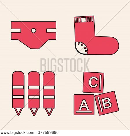 Set Abc Blocks, Baby Absorbent Diaper, Baby Socks Clothes And Wax Crayons For Drawing Icon. Vector