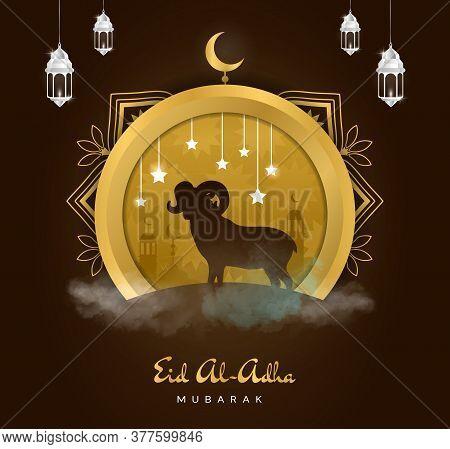 Poster Or Festive Card Design For Kurban Bayram Or Eid Al-adha, Or The Islamic Festival Of The Sacri
